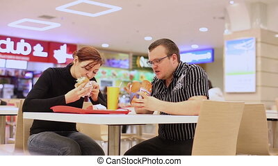 Man And Woman In Fast Food Restaurant HD