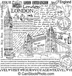london. hand drawing set of vector sketches