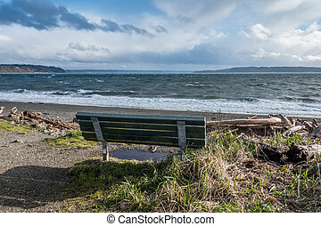 Bench And Puget Sound - The normally placid Puget Sound is...