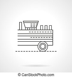 Wood chipper flat thin line vector icon - Agricultural...