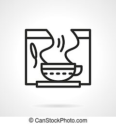 Healing herbal tea black line vector icon - Tea cup with...