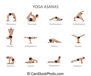 Vector set of yoga poses isolated on white background. Human...