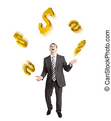 Businessman juggling dollar signs