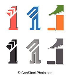 number one vector - number one figure creative design with...
