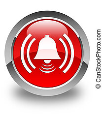 Alarm icon glossy red round button