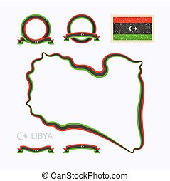 Colors of Libya - Outline map of Libya Border is marked with...