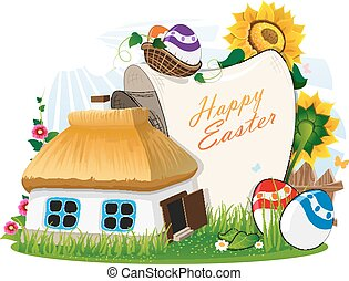 Easter rural background - Small rural house with a thatched...