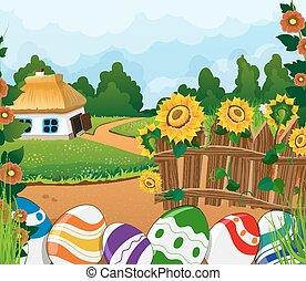 rural, paysage, à, maison, et, peint, Paques, oeufs,