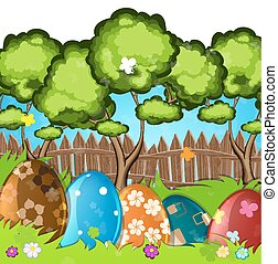 Painted Easter eggs in the grass