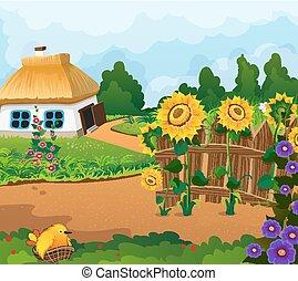 rural, paysage, à, a, petit, maison,