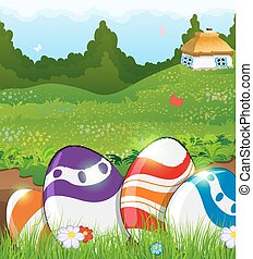 Easter eggs in the grass and rural house - Painted Easter...