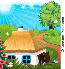 rural, paysage, à, a, maison,