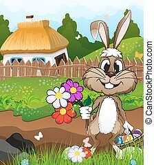 Easter bunny near a farmhouse - Bunny with a basket of...