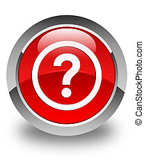 Question icon glossy red round button