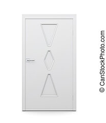 Modern door on a white background. 3d rendering