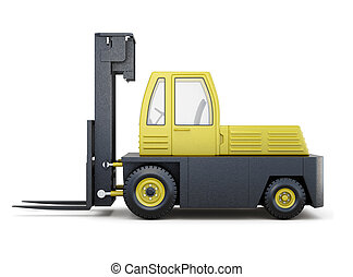 Yellow forklift truck isolated on a white background. 3d renderi