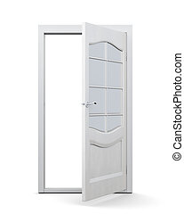 Open door with glass isolated on white background. 3d rendering