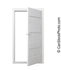 Door on a white background. 3d illustration