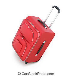 Red suitcase on wheels isolated on white background. 3d...