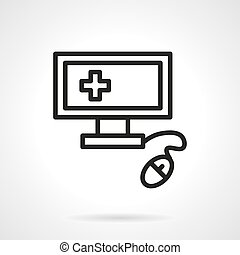 Medical computer black line vector icon - Computer...