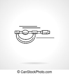 Micrometer flat thin line vector icon - Measurement tools...