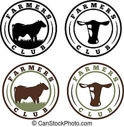 labels set of farmers club with cows