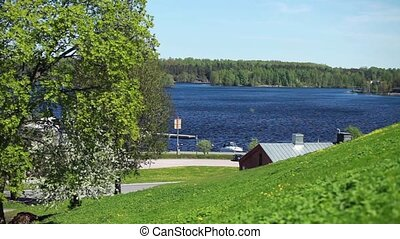Spring in Finland Landscape with lake