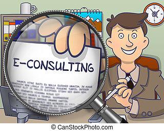E-Consulting through Magnifier. Doodle Design.