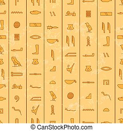 Antique egyptian hieroglyphics, seamless pattern - Antique...