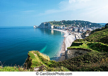 View from the famous white cliffs of Eacute;tretat on the...