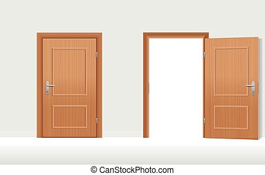 Doors Closed Open - Doors - Two wooden doors, one is closed,...