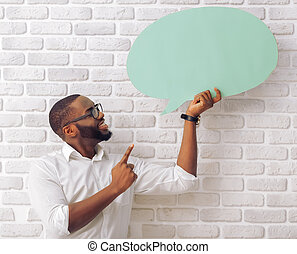 Afro American man with speech bubble - Handsome Afro...