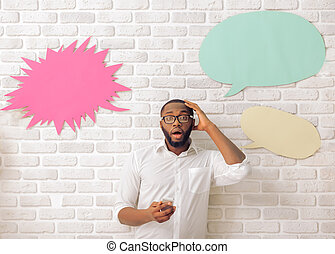 Afro American man with speech bubble - Surprised Afro...