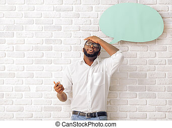 Afro American man with speech bubble - Tired Afro American...