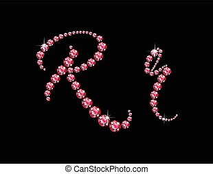 Rr Ruby Script Jeweled Font - Rr in stunning Ruby Script...