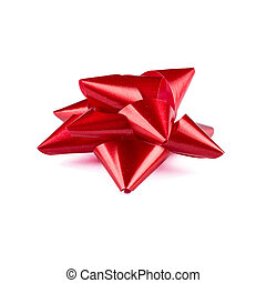 Red ribbon bow with tails isolated on white background - Red...