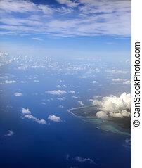 Polynesia. The atoll in ocean throu