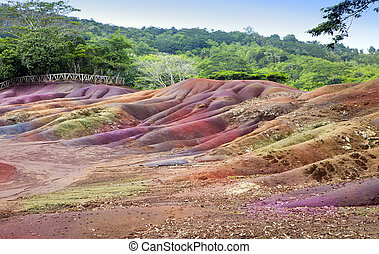 Mauritius- Chamarel- seven color la - Main sight of...