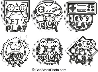 Vector set of video game play joystick in vintage style. Gaming concept.