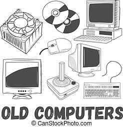 Vector set of electronic products and old computers objects in vintage style. Technology concept illustration. Design elements, icons.