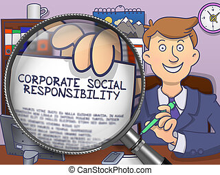 Corporate Social Responsibility through Magnifier. Doodle Style.