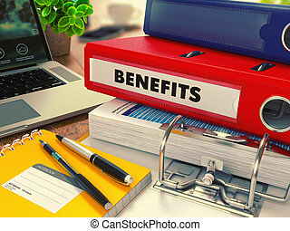 Red Office Folder with Inscription Benefits. - Red Office...