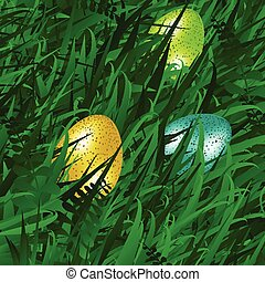 Eggs on grass background