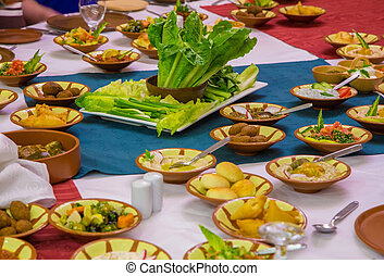 National dishes Jordan on a served table - National dishes...