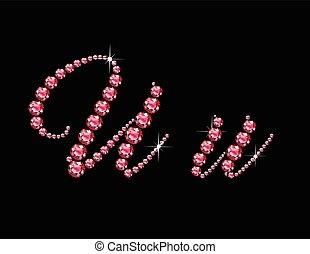 Uu Ruby Script Jeweled Font - Uu in stunning Ruby Script...