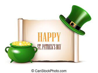 St.Patrick Day background with scroll paper.