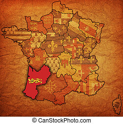 aquitaine on old map of france with flags of administrative...