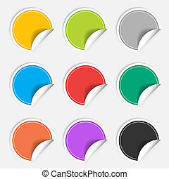 Colorful nine blank stickers set. Badge collection.