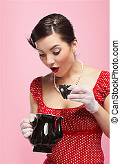 retro girl and teapot