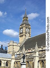 Palace of Westminster, London, UK - Statue of Oliver...